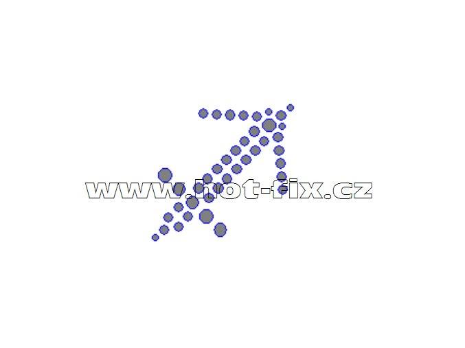 SZ002-09 - hot-fix kamínkový potisk znamení zvěrokruhu Střelec (23.11.-21.12.), rozměry cca 4,1x3,9cm