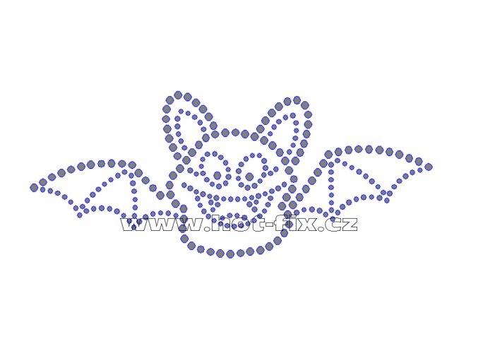 SP004-A - hot-fix nažehlovací kamínkový potisk netopýr, rozměry cca 14,9x6,2cm