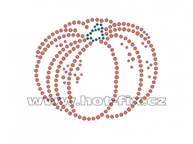 SP001 - hot-fix nažehlovací kamínkový potisk dýně, rozměry cca 9,8x8,2cm
