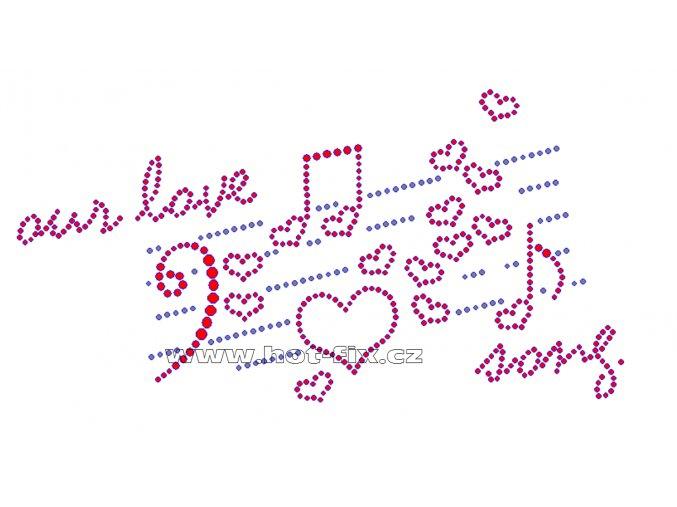 VAL001 - nažehlovací kamínkový potisk Valentýn Our love song, rozměry cca 21,6x11,0cm