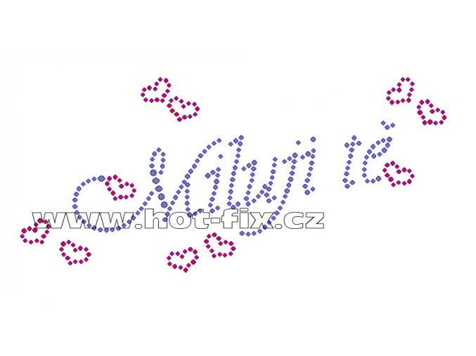 VAL002 - nažehlovací kamínkový potisk Miluji tě, rozměry cca 18,9x8,7cm