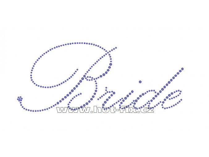 SVAT003-B - nažehlovací potisk z hot-fix kamenů pro nevěsty nápis Bride, rozměry cca 20,6x8,6cm