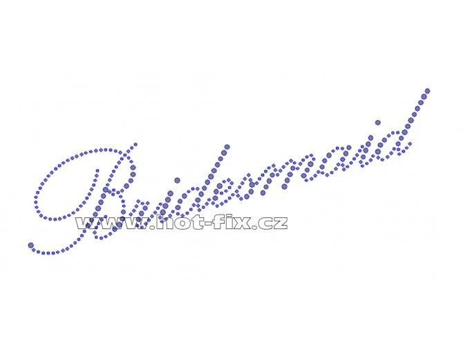 SVAT004-A - nažehlovací potisk z hot-fix kamenů pro družičku nevěsty nápis Bridesmaid, rozm. cca 22,7x9,5cm