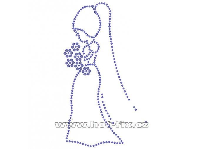 SVAT011 - nevěsta nažehlovací potisk z hot-fix kamenů, rozměry cca 9,0x15,5cm