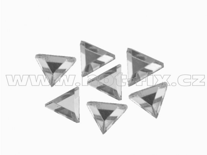 TROJÚHELNÍK 5x5,5mm hot-fix tvarový skleněný kámen, barva 101 Crystal /stříbrná, balení 20ks, 100ks, 500ks