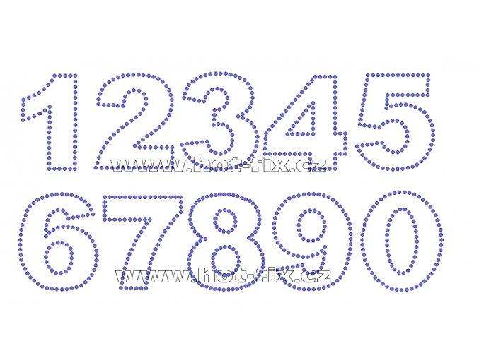 FC001 - číslice nažehlovací hot-fix kamínkový potisk na textil, výška cca 6,5cm