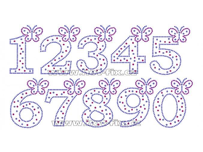 FC002 - číslice s motýlkem nažehlovací hot-fix kamínková aplikace na textil, výška číslice cca 8,8cm