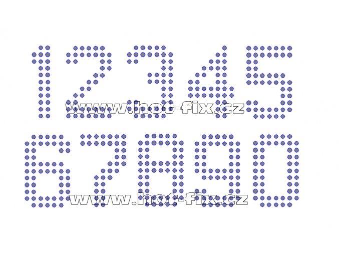 FC003-SS10 - číslice nažehlovací hot-fix kamínkový potisk na textil, výška cca 4,9cm