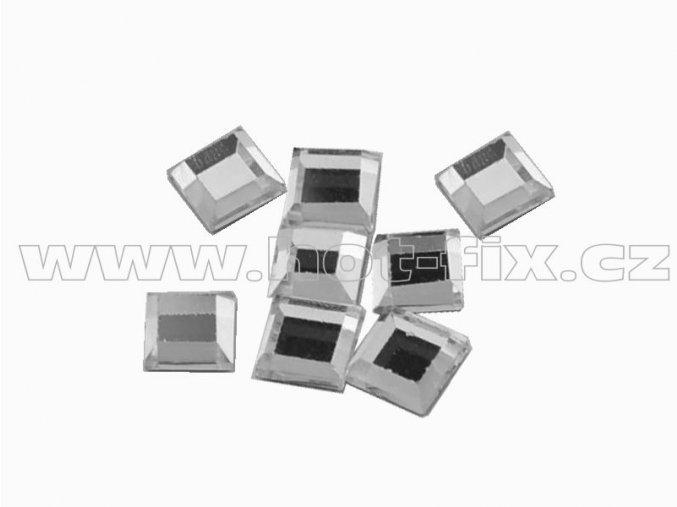 ČTVEREC 4x4mm hot-fix tvarový skleněný kámen barva CBP 101 Crystal stříbrná, balení 20ks, 100ks nebo 500ks
