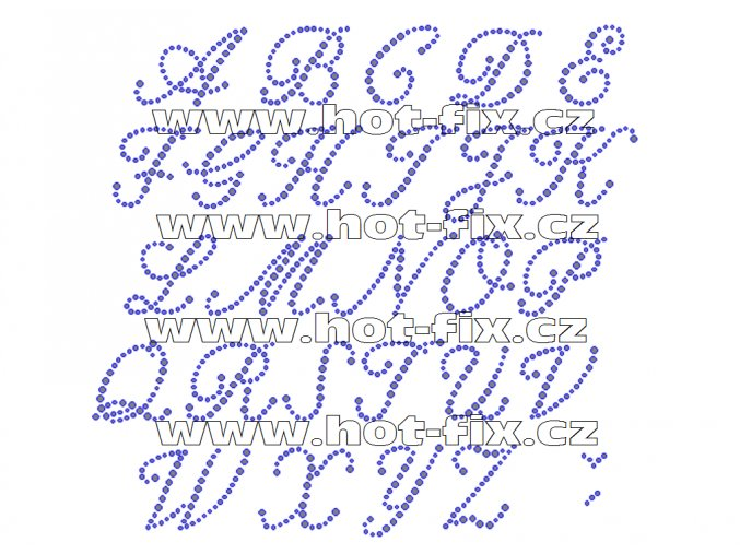 F012 - nažehlovací kamínkový potisk na textil písmena abecedy, výška cca 3,4-3,9cm