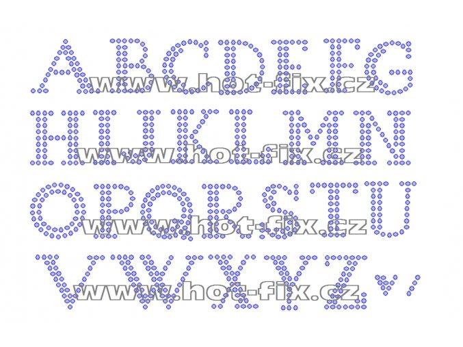 F013 - nažehlovací kamínkový potisk na textil písmena abecedy, výška cca 2,4cm