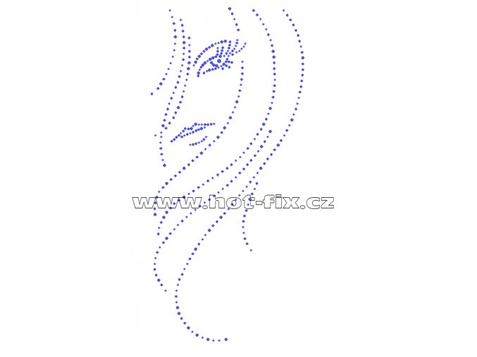 S039-A - tvář hot-fix nažehlovací kamínková aplikace na textil, rozměry cca 12,5x27,3cm