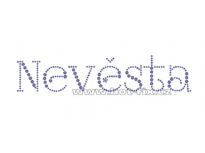 SVAT037 - nevěsta nažehlovací hot-fix kamínková aplikace, rozměry cca 21,0x4,5cm
