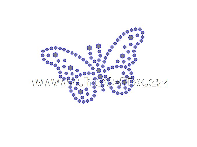 ZM036 - motýl nažehlovací potisk z hot-fix kamenů, rozměry cca 6,0x4,5cm