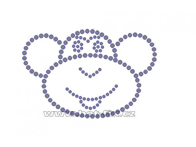 ZO003 - hlava opice nažehlovací potisk z hot-fix kamenů, rozměry cca 12,4x8,3cm