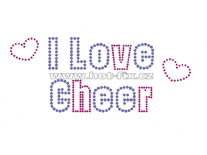C118 - I love cheer hot-fix kamínkový potisk na tričko, textil, rozměry cca 19,0x8,0cm