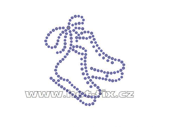 C102 - brusle nažehlovací hot-fix kamínková aplikace na textil, rozměry cca 6,0x6,8cm