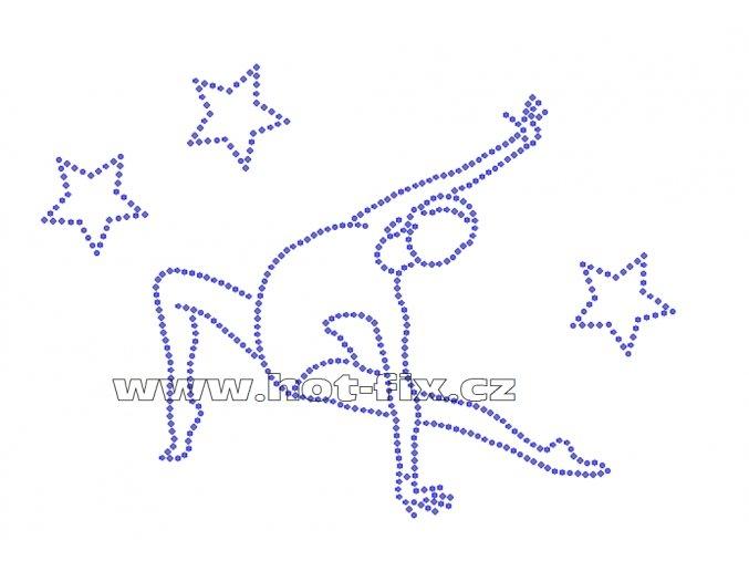 C099-A - gymnastka a hvězdy hot-fix nažehlovací kamínkový potisk na textil, rozměry 20,1x14,8cm