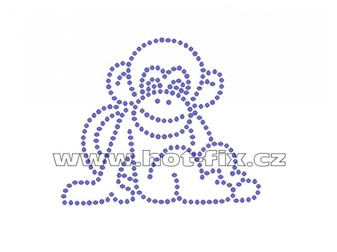 ZO006 - opice hot-fix nažehlovací kamínkový potisk na tričko, rozměry cca 8,7x7,3cm