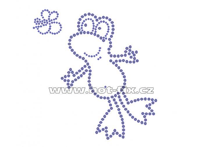 ZB002-B - žába nažehlovací hot-fix kamínkový potisk na textil, rozměry cca 13,0x13,7cm
