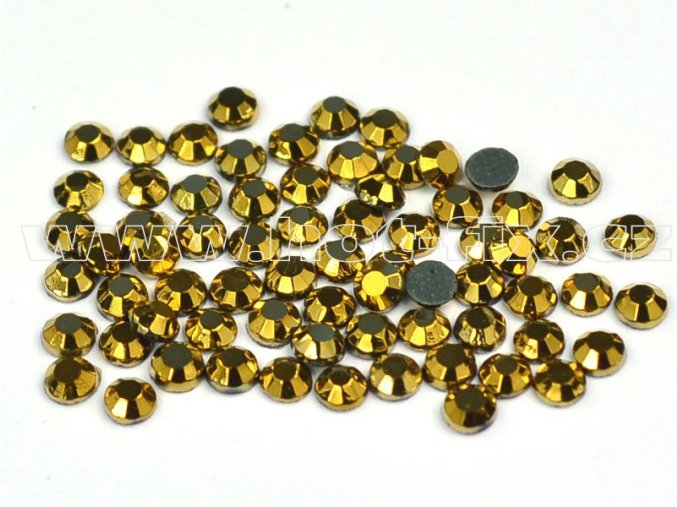 hot-fix kameny barva 305 Gold /zlatý pokov, velikost SS10, balení 144ks, 720ks, 1440ks