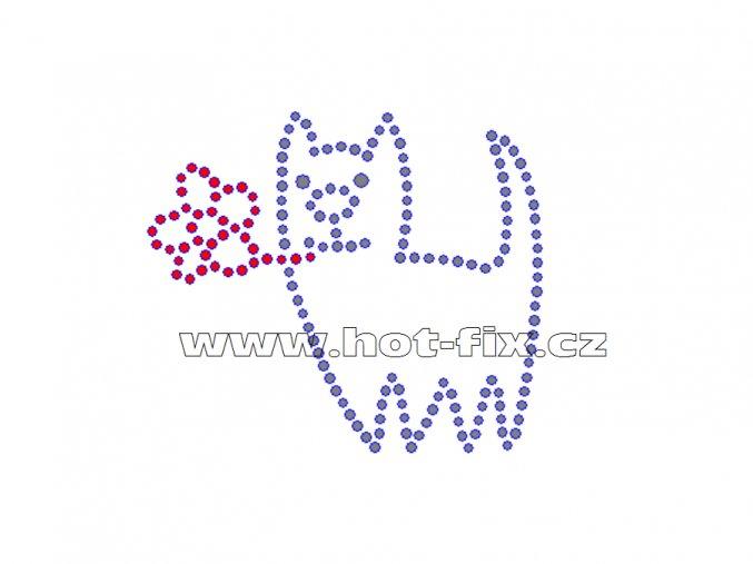 ZA002 - kočka s kytkou nažehlovací hot-fix kamínkový potisk na tričko, rozměry cca 7,5x6,4cm