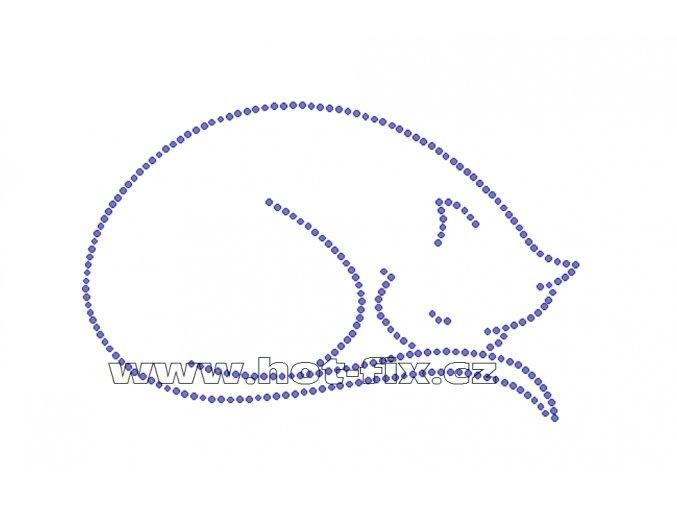 ZA006-B - kočka nažehlovací potisk z hot-fix kamenů na textil, cca rozměry 14,0x9,0cm