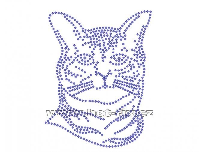 ZA013 - kočka nažehlovací potisk z hot-fix kamenů, rozměry cca 10,0x13,0cm