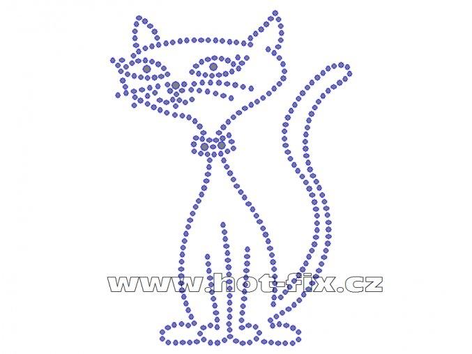 ZA011 - kočka nažehlovací hot-fix kamínková aplikace na textil, cca rozměry 8,9x12,3cm