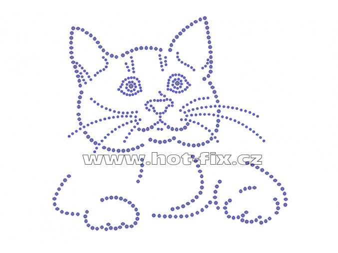 ZA022 - kočka hot-fix nažehlovací kamínková aplikace na textil, cca rozměry 19,2x17,5cm