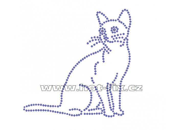 ZA024 - kočka nažehlovací hot-fix kamínkový potisk na textil, cca rozměry 11,7x11,7cm