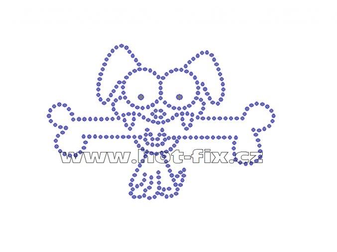 ZP003 - pes s kostí nažehlovací potisk z hot-fix kamenů, rozměry cca 11,4x7,8cm