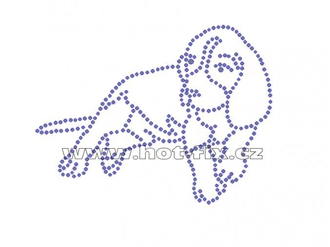 ZP006 - štěně bígla hot-fix nažehlovací kamínkový potisk na tričko, textil, cca rozměry 13,0x9,8cm