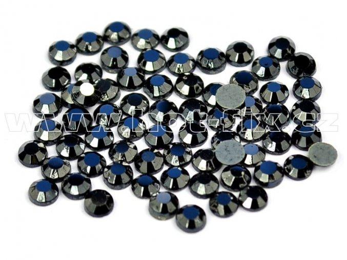 sada skleněných hot-fix kamenů 125 Jet hematite /kovový efekt 4x144ks