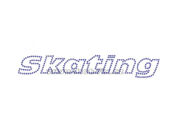 C127 - Skating nažehlovací potisk z hot-fix kamenů na textil pro příznivce krasobruslení, rozměry cca 18,6x3,1cm