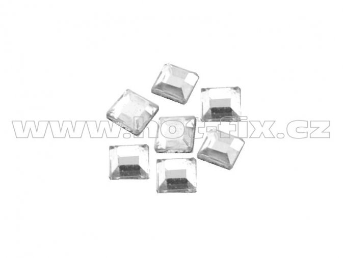 ČTVEREC 4x4mm hot-fix tvarový skleněný kámen barva 2CUT 101 Crystal /stříbrná, balení 20ks, 100ks nebo 500ks