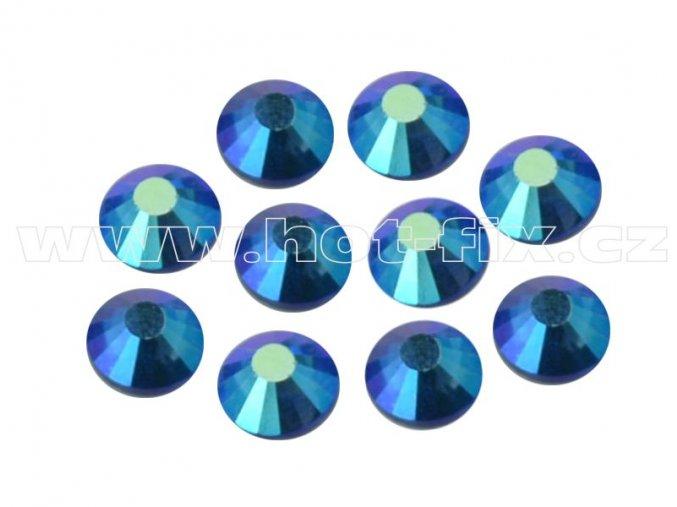 hot-fix celobroušené kameny Premium barva CBP/205 AB Sapphire /modrá s duhovým efektem, sada 4x144ks