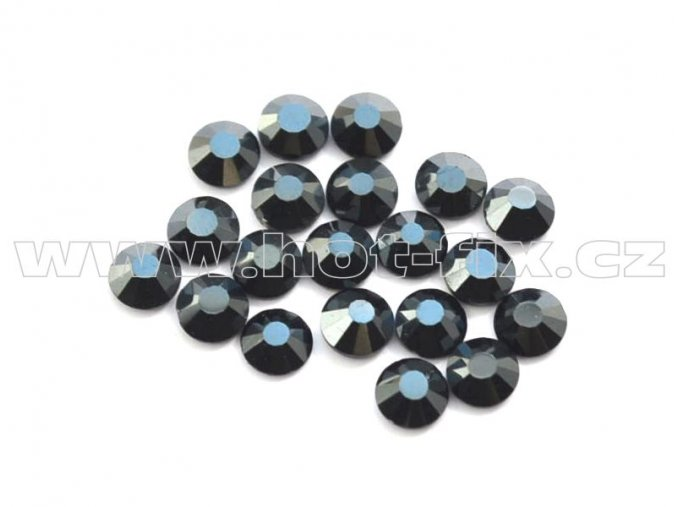 celobroušené hot-fix kameny Premium barva 127 DK Jet hematite, velikost SS10, balení 144ks, 720ks, 1440ks