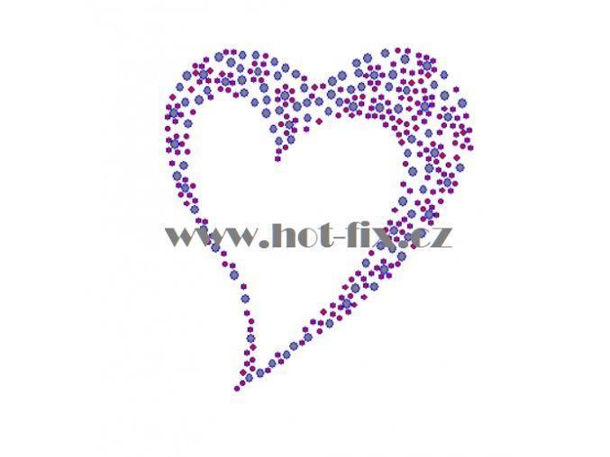 SB014 srdce nažehlovací potisk na textil hot fix kamínky