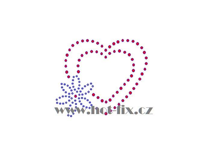 SB016 srdce s kytkou nažehlovací potisk na textil hot fix kamínky