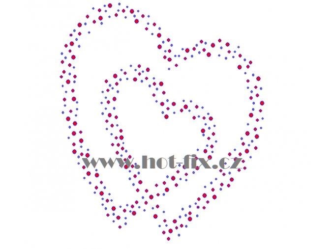 SB035 srdce rozptyl hot fix nažehlovací kamínkový potisk na textil, tričko hot fix kameny