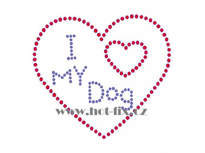 SB037 I love my dog kamínkový nažehlovací potisk na triko, textil hot fix kameny