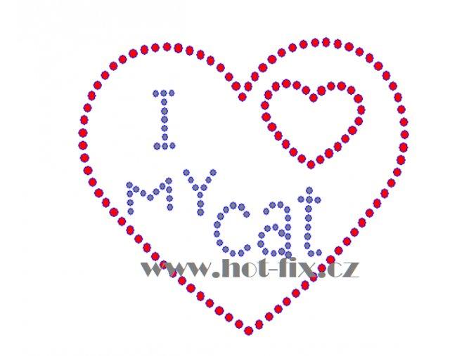 SB038 I love my cat hot fix nažehlovací kamínková aplikace na triko, textil hot fix kameny