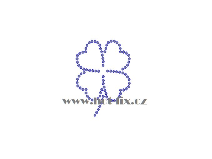 S018 čtyřlístek hot fix nažehlovací kamínkový potisk na textil skleněné hot fix kameny