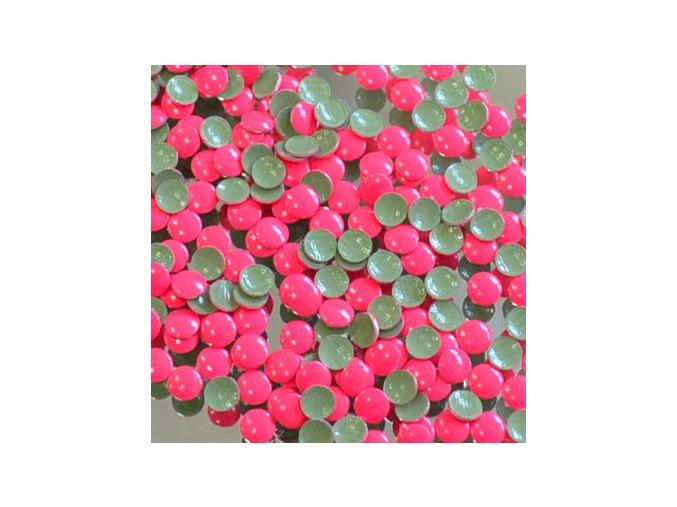 kovové hot-fix kameny barva 1002 FLUO LUMI RŮŽOVÁ velikost 4mm, balení 100 nebo 500ks