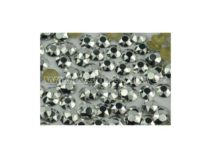 Octagon kovové hot fix kameny na textil barva stříbrná lesk