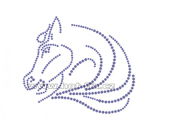 ZK011 verze B hlava koně nažehlovací potisk na triko, textil skleněné hot fix kamínky