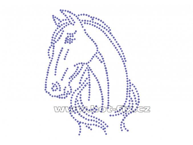 ZK013 hlava koně nažehlovací potisk na triko, textil skleněné hot fix kamínky