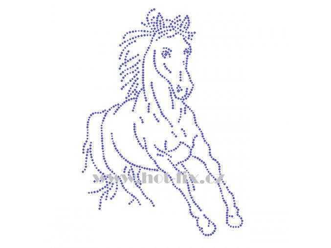 ZK021 kůň horse hot fix nažehlovací potisk na triko, textil nažehlovací hot fix kamínky