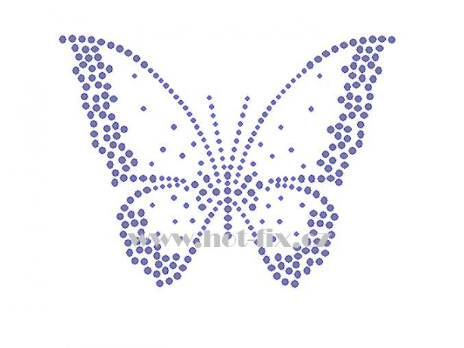ZM038 motýl hot fix nažehlovací aplikace na tričko, textil hot fix kamínky